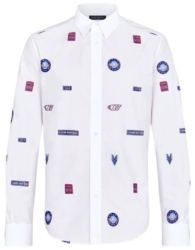 Louis Vuitton White Patch Button Down Shirt Worn By Birdman In Stop Cappin Music Video