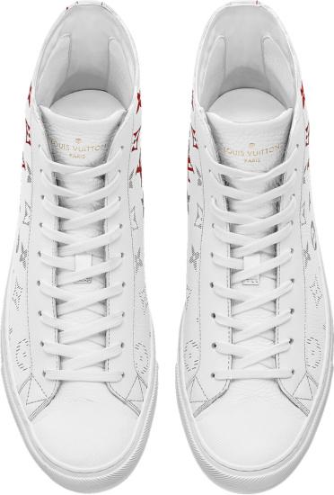 Louis Vuitton White Red Monogram High Top Tattoo Sneakers