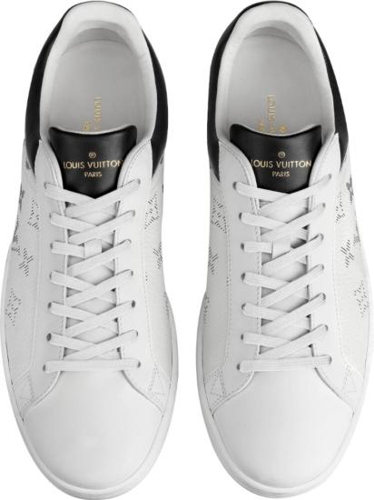 Louis Vuitton White Sneakers With Black Monogram Print