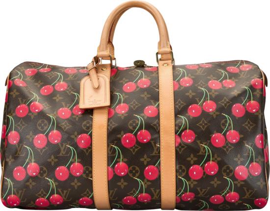 Louis Vuitton X Murakami Brown Monogram And Red Cherry Keepall 45 Duffle Bag