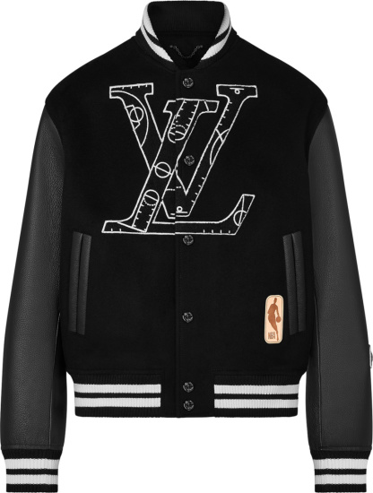 Louis Vuitton X Nba Black Wool And Leather Basketball Play Bomber Jacket 1a8wua