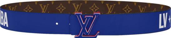 Louis Vuitton X Nba Brown Monogram And Blue 3 Steps Belt