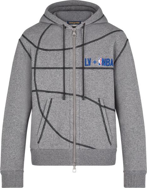 Louis Vuitton X Nba Grey Basketball Zip Hoodie