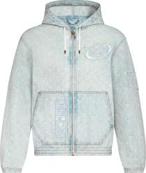 Louis Vuitton X Nba Light Blue Denim Monogram Zip Hoodie 1a8wts