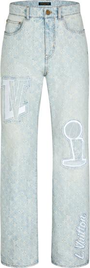 Louis Vuitton X Nba Super Light Indigo Monogram Patch Jeans 1a8wks