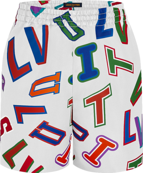 Louis Vuitton X Nba White And Multicolor Basketball Letters Shorts 1a90tv