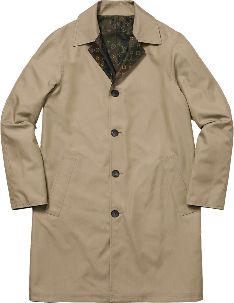 Louis Vuitton X Supereme Beige Reversible Trench Coat