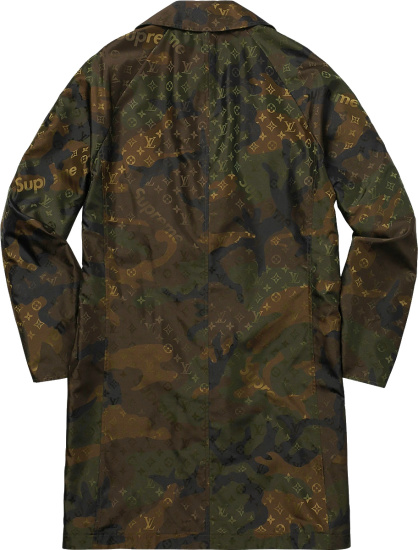 Louis Vuitton X Supreme Brown Green Camouflage Trench Coat
