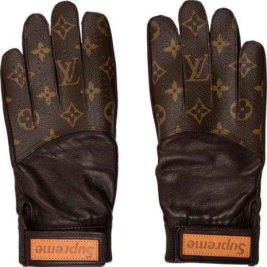 Louis Vuitton X Supreme Brown Monogram Black Leather Baseball Gloves