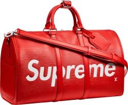 Louis Vuitton X Supreme Red Duffle Bag