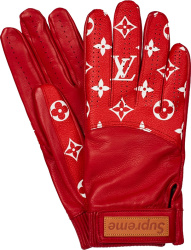 Louis Vuitton X Supreme Red Leather Baseball Gloves