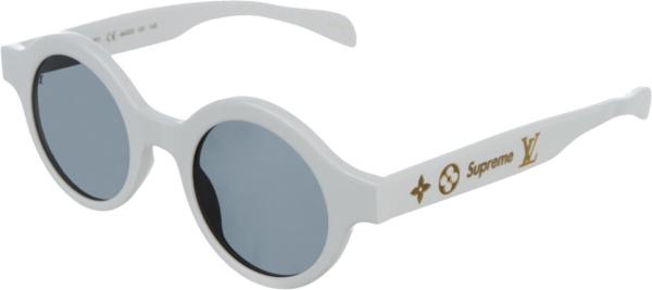 Louis Vuitton X Supreme White Round Downtown Sunglasses