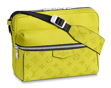 Louis Vuitton Yellow Messenger Bag With Black Canvas And Silver Tone Zippers