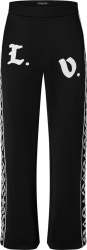 Louis Vutton Black And White Flower Side Stripe Trackpants 1a978n