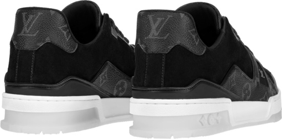 Louis Vutton Black Eclipse Monogram Lv Trainer Sneakers