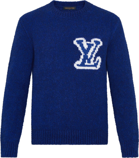 Lous Vuitton Blue And White Fornt And Back Intarsia Lv Sweater 1a7xoh