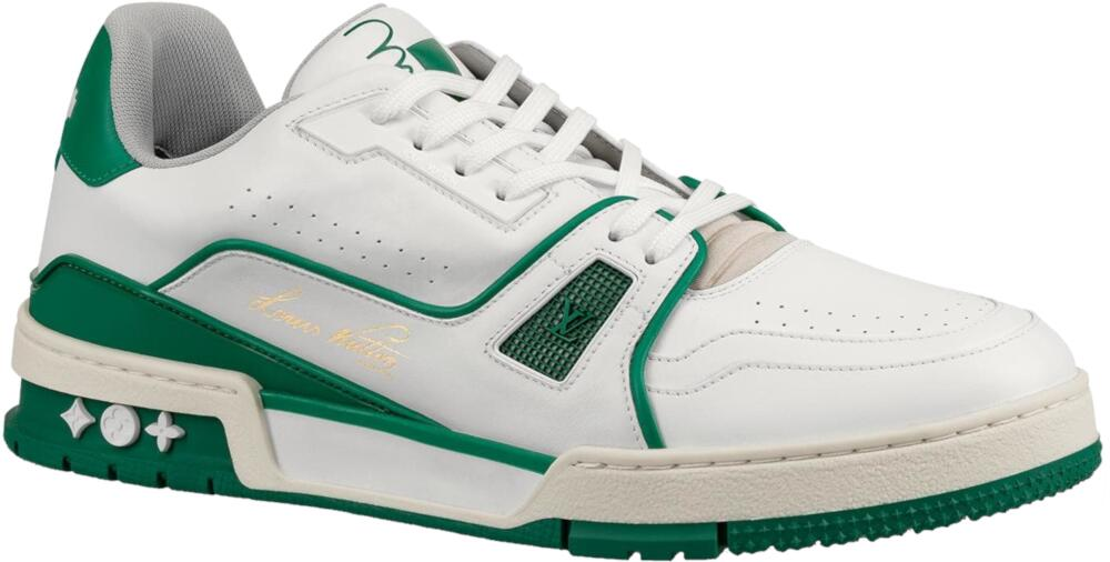 Lous Vuitton White And Green Lv Trainer Sneakers