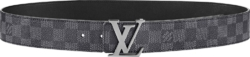 Graphite Check 'LV Initiales' Belt