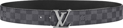 Lv Initiales Buckle Graphite Check Belt