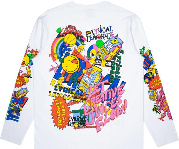 Lyrical Lemonade White Long Sleeve Allover Logo Print T Shirt