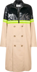 Mainson Margiela Beige And Patent Black Trench Coat