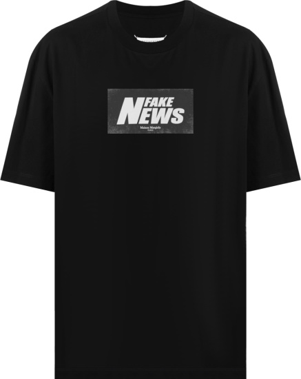 Maison Margiela Black Fake News T Shirt