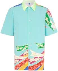 Maison Margiela Blue Kimono Shirt With Green Collar