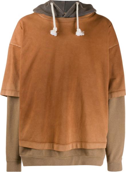 Maison Margiela Brown Layered T Shirt Hoodie