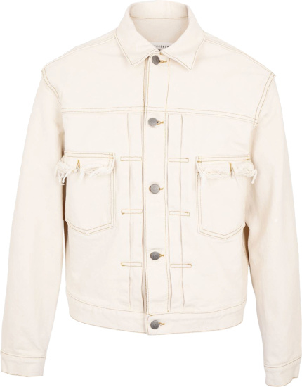 Maison Margiela Ivory Distressed Denim Jacket