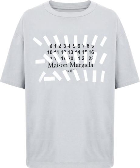 Maison Margiela Light Grey Numbers Tape Logo T Shirt
