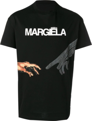 Maison Margiela Logo And Hands Print Black T Shirt