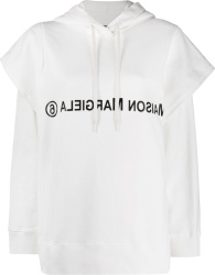Maison Margiela Mm6 White Layered Logo Print Hoodie