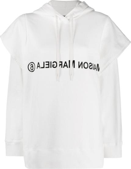 Maison Margiela Mm6 White Layered Logo Print Hoodie