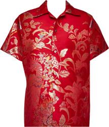 Red & Gold-Tone Artisinal Kimono Shirt