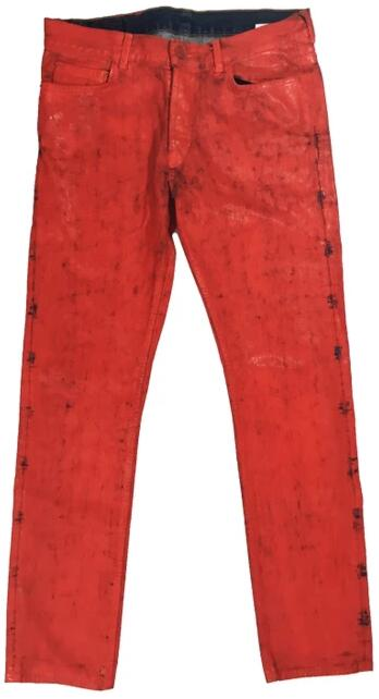 Maison Margiela Red Painted Jeans