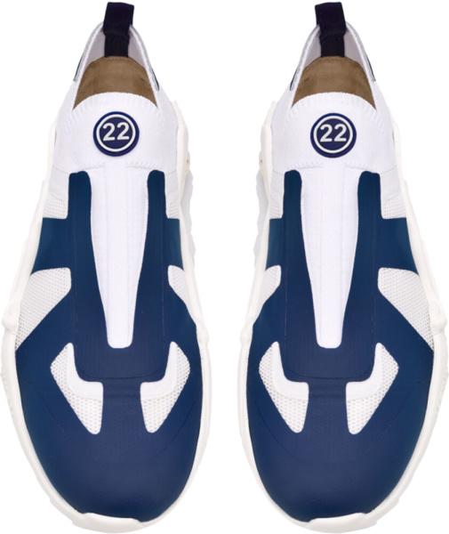 Maison Margiela White Blue Slip On Sneakers