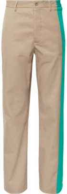 Maisonb Margiela Beige Pants With Tourquoise Side Stripe An Snaps
