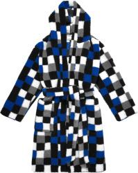 Marcelo Burlon White Grey Black And Blue Checkerboard Robe