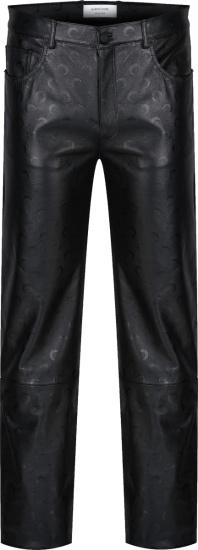 Marine Serre Black Leather Allover Half Moon Print Pants