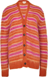 Orange & Pink-Striped Cardigan