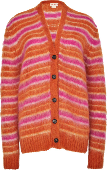Marni Orange And Pink Striped Mohair Cardigan