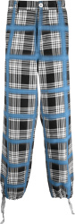 Marni Black White Check And Blue Spray Grid Pants