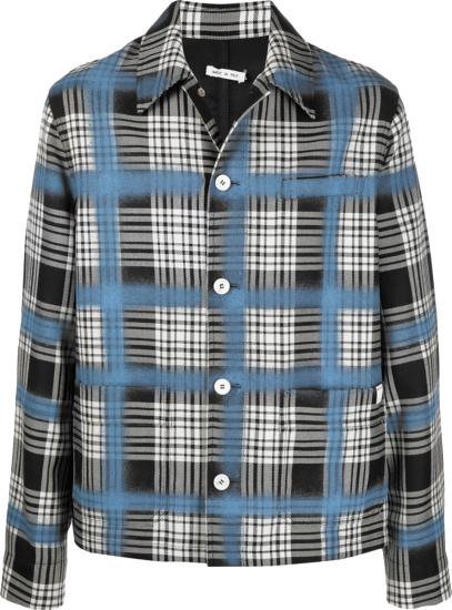 Marni Black White Check And Blue Spray Grid Shirt Jacket
