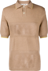 Marni Brown Knit Polo Shirt