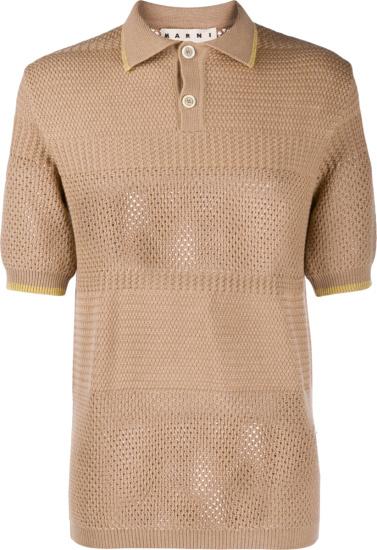 Marni Brown Knit Polo Shirt