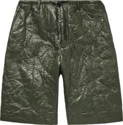 Marni Dark Green Crinkled Bonded Shorts