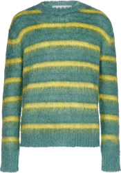 Marni Green And Yellow Striped Mohair Sweater
