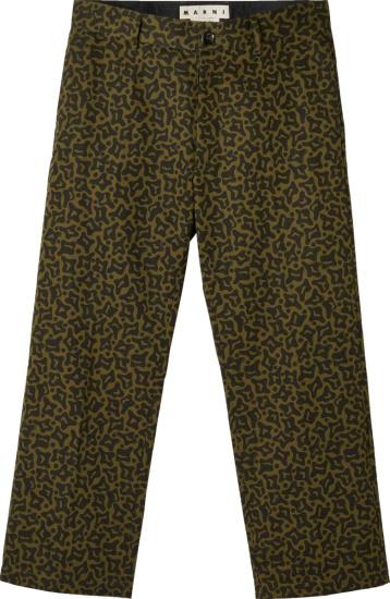 Marni Green Cells Camo Pants