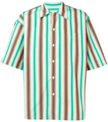Marni Greena And Brown Striped Bowling Shirt