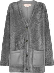 Marni Grey Oversized Shearling Cardigan